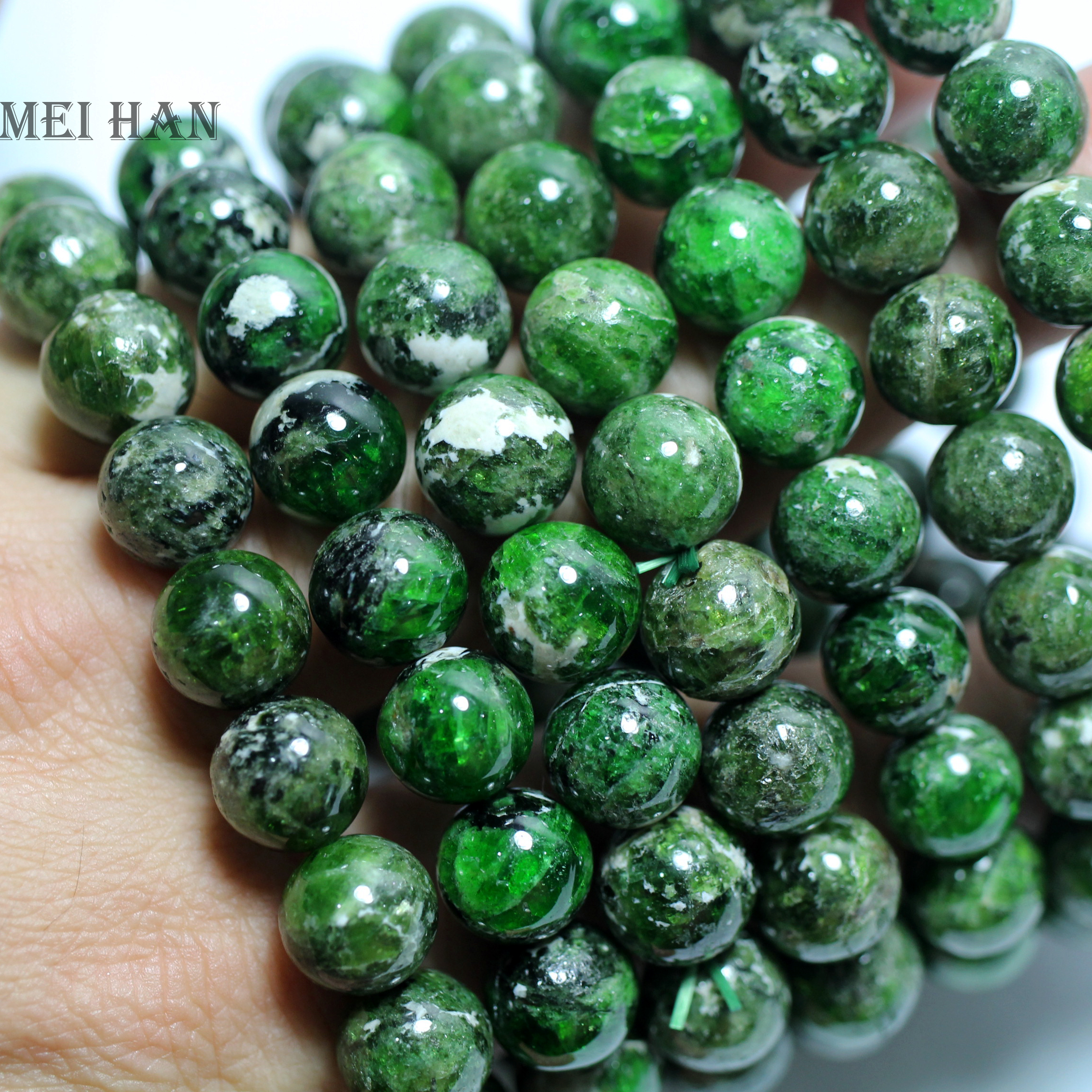 Wholesale 2 bracelet set genuine green chrome diopside 10 10 5mm smooth round loose stone beads