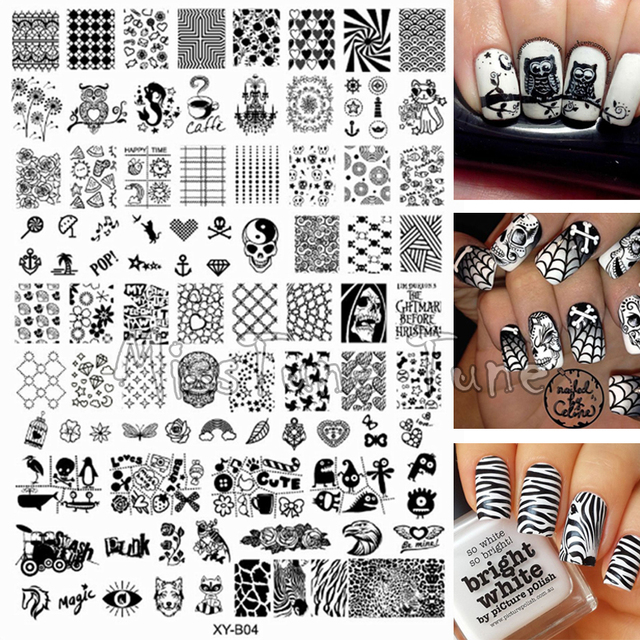 Large Acrylic Different Design Nails Stamping Plates Stamp Templates