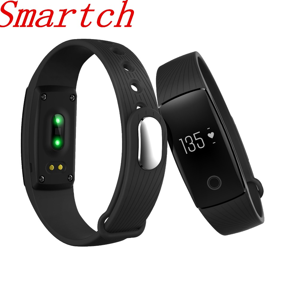 Smartch V05C ID107 Bluetooth 4.0 Smart Bracelet smart band Heart Rate Monitor Wristband Fitness Tracker for Android iOS Smartpho