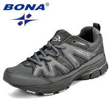 BONA Birkaç Popüler Tarzı Erkek koşu ayakkabıları Örgü Inek Bölünmüş Mikrofiber Erkekler spor ayakkabılar Lace Up Açık koşu ayakkabıları Erkek Spor Ayakkabı