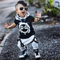 A Roupa do bebê Recém-nascido Do Bebê Meninos Crianças Outfit Bodysuit T-shirt Top Pant Romper Roupas Set 2 Pcs Preto Branco 0162