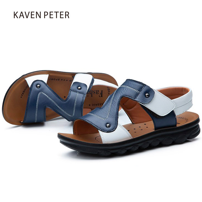 2017 children`s summer genuine cow leather beach sandals baby fat casual sandals boys shoes Orthopedic footwear for kids