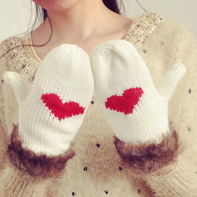 New Famale Thicker Cashmere Knitted Wool Velvet Mittens Women Winter Warm Cute Plush Wrist Cartoon Red Heart Black Gloves L82