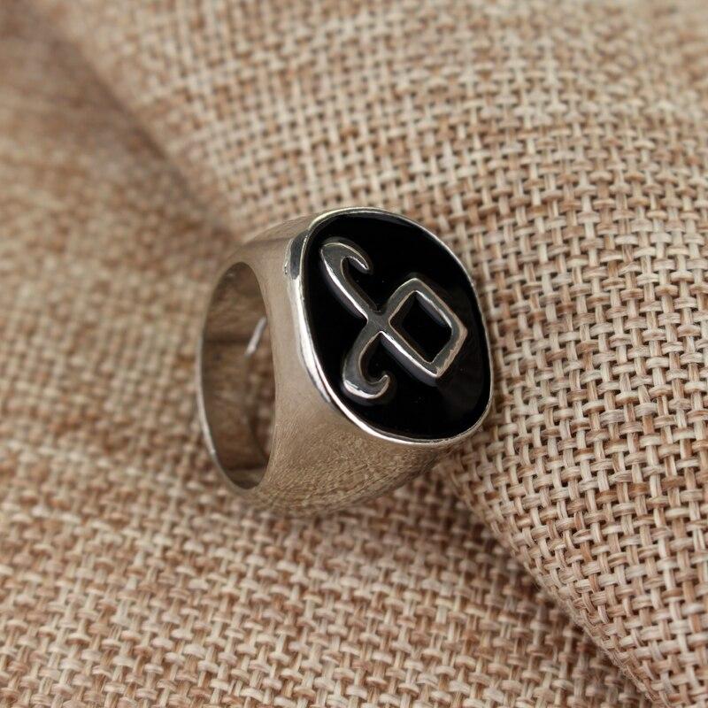 Hot Sale The Mortal Instruments City Of Bones Angelic Power Rune Rings Vintage Alloy Metal Ring With Black Enamel Simple