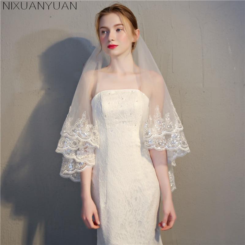 d798e27c95 Nueva princesa velos de boda con apliques corto Blanco Marfil romántica boda  accesorios elegantes 2