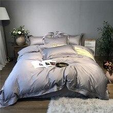 800TC Egyptain القطن الأبيض رمادي الشمال طقم سرير الملكة الملك حجم شرشف غطاء سرير غطاء دوفيت للسرير بارور دي مضاءة