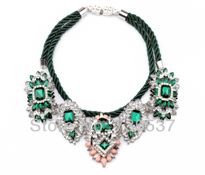 Luxury Beautiful Green Noble Green Muiti-Layer Shourouk Collar Necklace