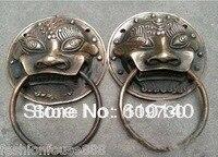 0092 Oriental Bronze A Pair old Lucky statue foo dog lion Fengshui door knocker 7cm