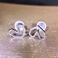 ANI 18K White Gold Women Wedding Earrings 0 18 CT Certified I SI Natural Diamond Jewelry