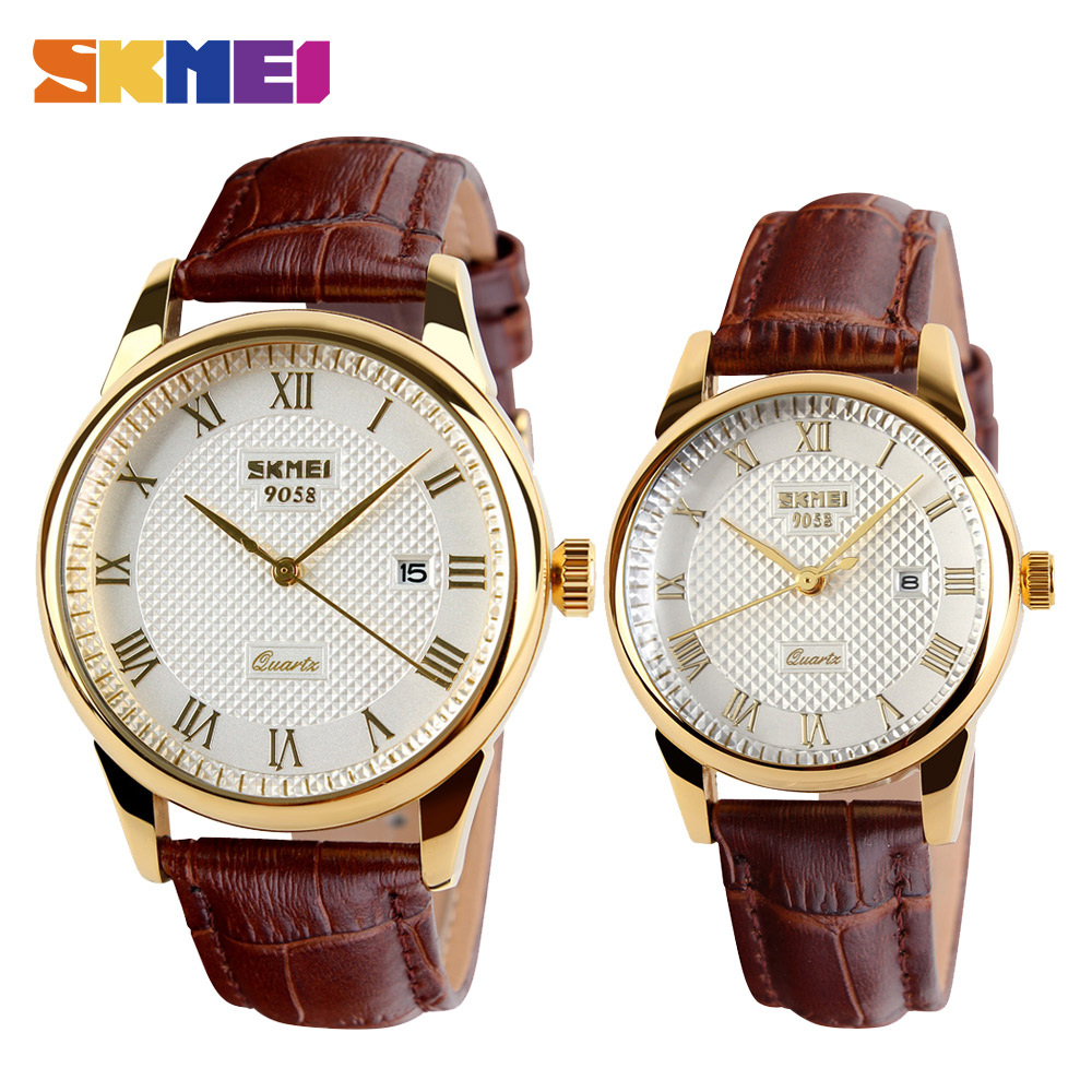 SKMEI Men Quartz Wristwatches Luxury Brand Leather Casual Fashion Business Watches Men Clock Waterproof Relogio Masculino 9058 skmei 9058 men quartz watch page 5