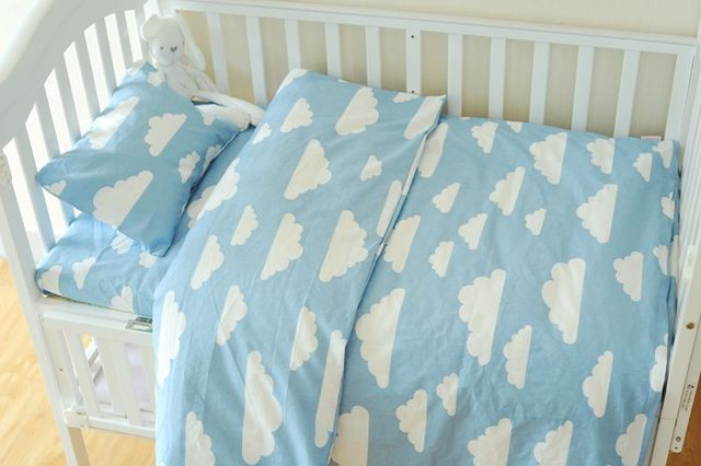 4 Arten Blau Wolken Baby Bettwäsche Set 3 Teile/satz Baumwolle Krippe  Bettwäsche Set Für