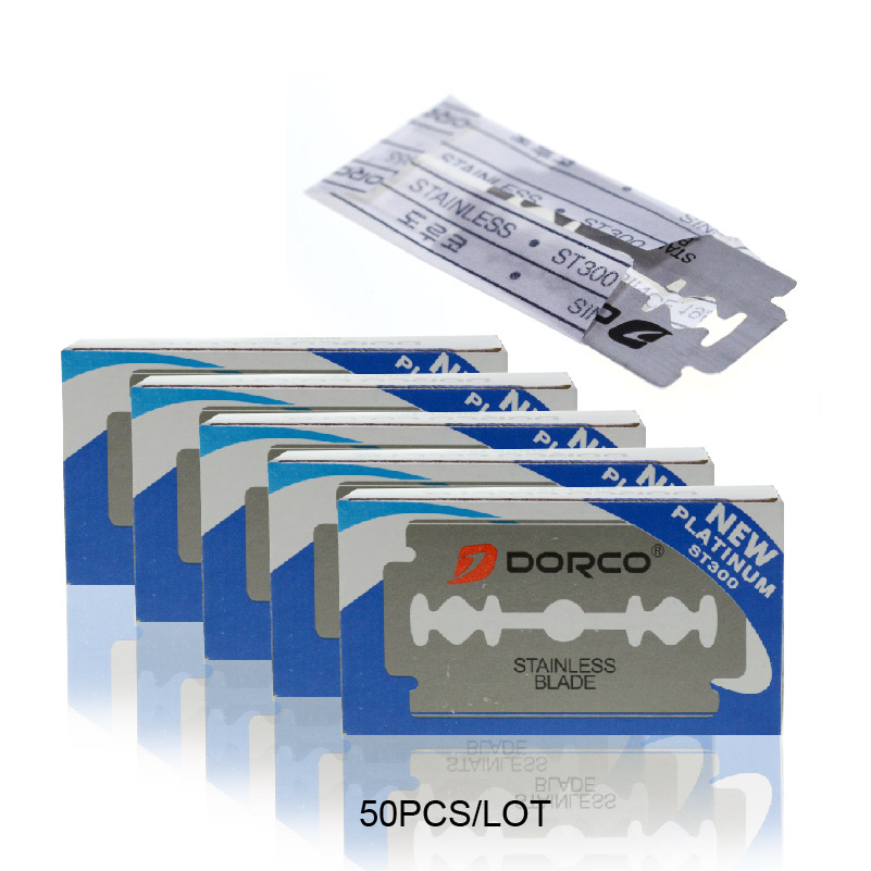 Dorco 50pcs Razor Blades Brand Stainless Steel Safety Razor Blades To Shave Blade To Razor For Men Lames De Rasoir Barber Blade