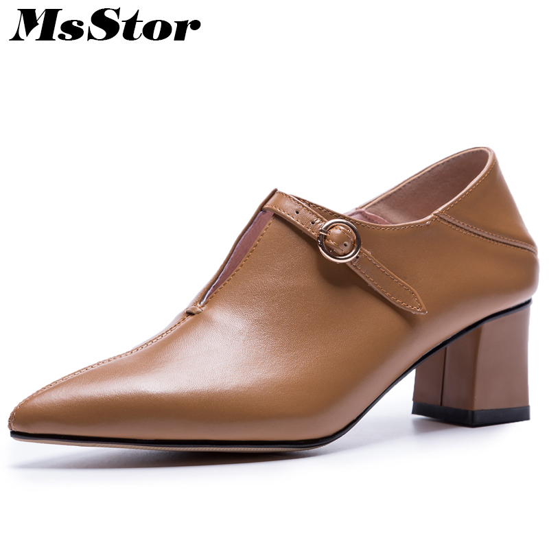 MsStor Women Pointed Toe High Heel Boots Casual Fashion Buckle Shallow Ankle Boots Women Shoes Mature Thin Heels Boots Women ouqinvshen pointed toe thin heels women boots ladies super high heels ankle boots casual fashion butterfly knot women s boots