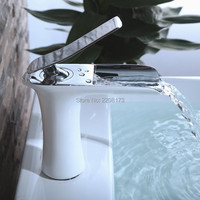 2016 New Arrival High Quality Solid Brass Waterfall Basin Mixer Tap Chrome Plated Or White Bathroom