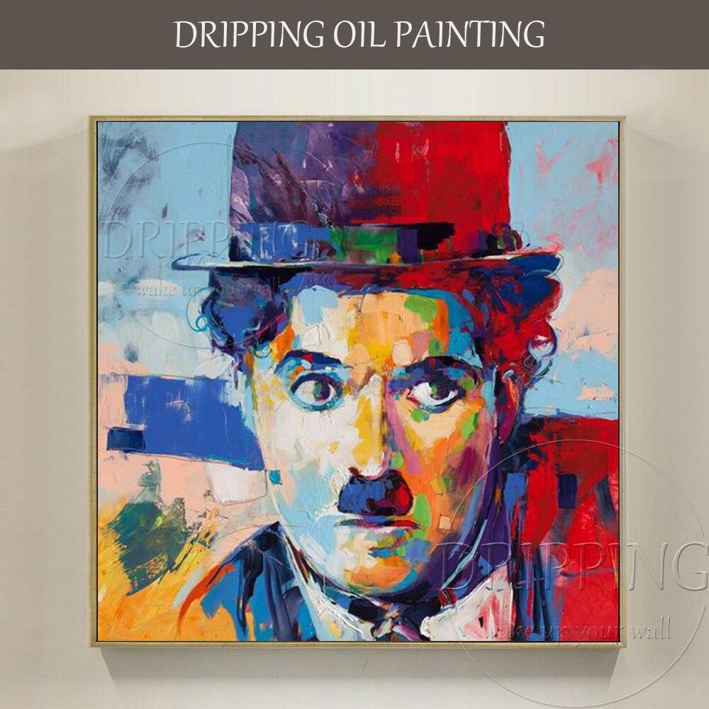 ممتاز الفنان مرسومة باليد عالية الجودة مشاهير شابلن النفط الطلاء على قماش اليدوية البوب الفن صورة النفط اللوحة-في الرسم والخط من المنزل والحديقة على  مجموعة 1
