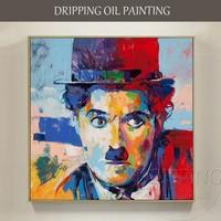 Uitstekende Kunstenaar handgeschilderde Hoge Kwaliteit Beroemde Mensen Chaplin Olieverfschilderij Handgemaakte Pop Art Portret Olieverf