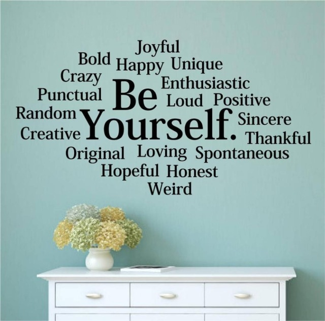 Character Be Yourself Bold Happy Unique Vinyl Wall Decal Words Letters Teen  Room Wall Sticker Office
