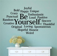 Character Be Yourself Bold Happy Unique Vinyl Wall Decal Words Letters Teen Room Wall Sticker Office Bedroom Home Decoration