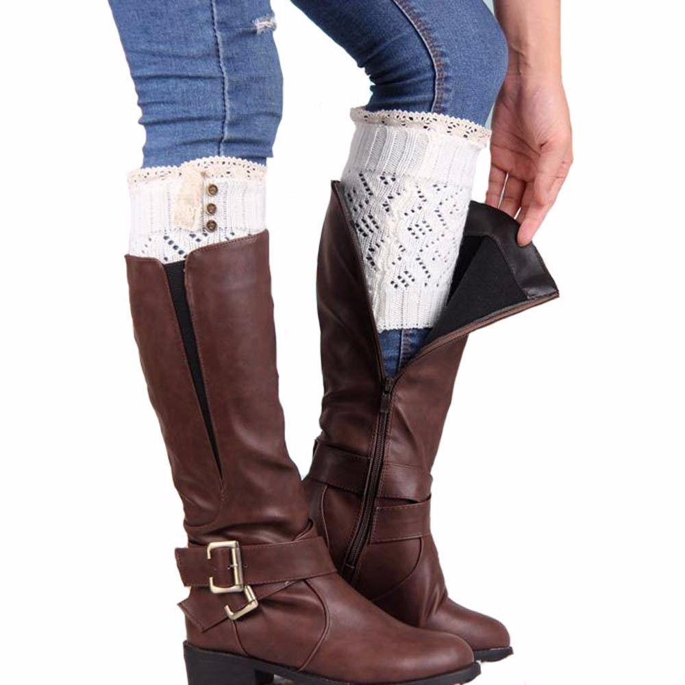 Feitong Women Lace Stretch Boot Leg Cuffs Boot Winter Leg Warmer Meias Femininas Solid color Cotton Knee Socks y#1