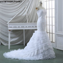 DYYMYH&MJPGHBT Organza Mermaid Wedding Dresses Chapel Train