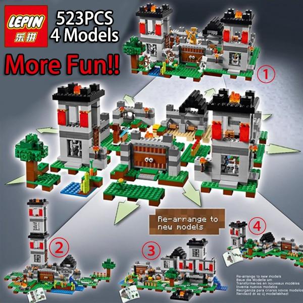 font b LEPIN b font 4models 523pcs My world Minecraft Building Blocks Bricks Toys For