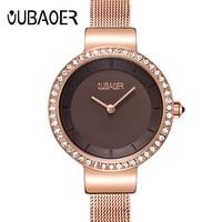 Top Brand Women Mesh Belt Bracelet Watch Luxury OUBAOER Quartz Watches Women Fashion Luxury Watch Women