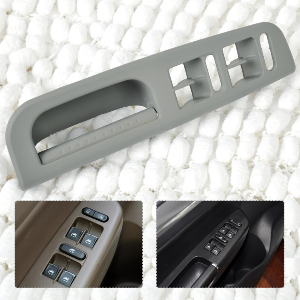 New Gray Door Window Switch Control Panel Bezel+Handle Trim For VW Passat Golf Jetta Bora MK4 1999 2000 2001 2002 2003 2004 2005 a set 5pcs for passat passat car door handle cover mahogany inner handle decorative cover combined switch frame