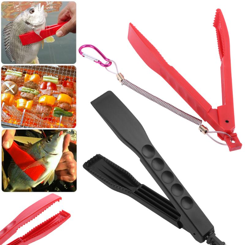 2 in 1 Plastic Fishing Plier Gripper BBQ Fish Clamp Plier With Lock Barbecue Tool+ Spring Lanyard Fishing Accessories