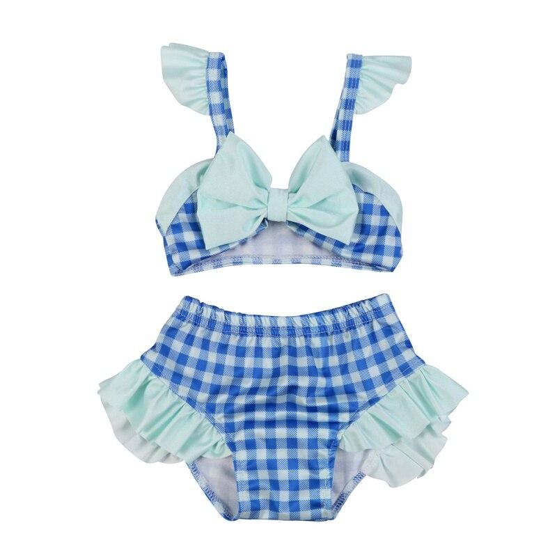Baby Buy Store 2017 New Summer Baby Girl Swimwear Plaid Swim Beach Set Bowknot Bikini Children Clothes Sets Outfits for 0-3T Kids