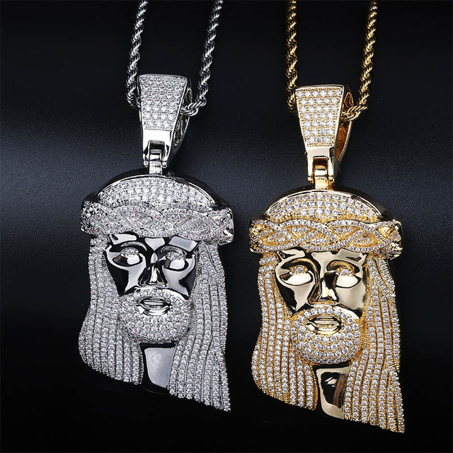 TOPGRILLZ New Ice out Jesus Corolla pendant hip hop Jewelry Fashion CZ Stone Necklace Cubic Zircon Link For Man Women Gift