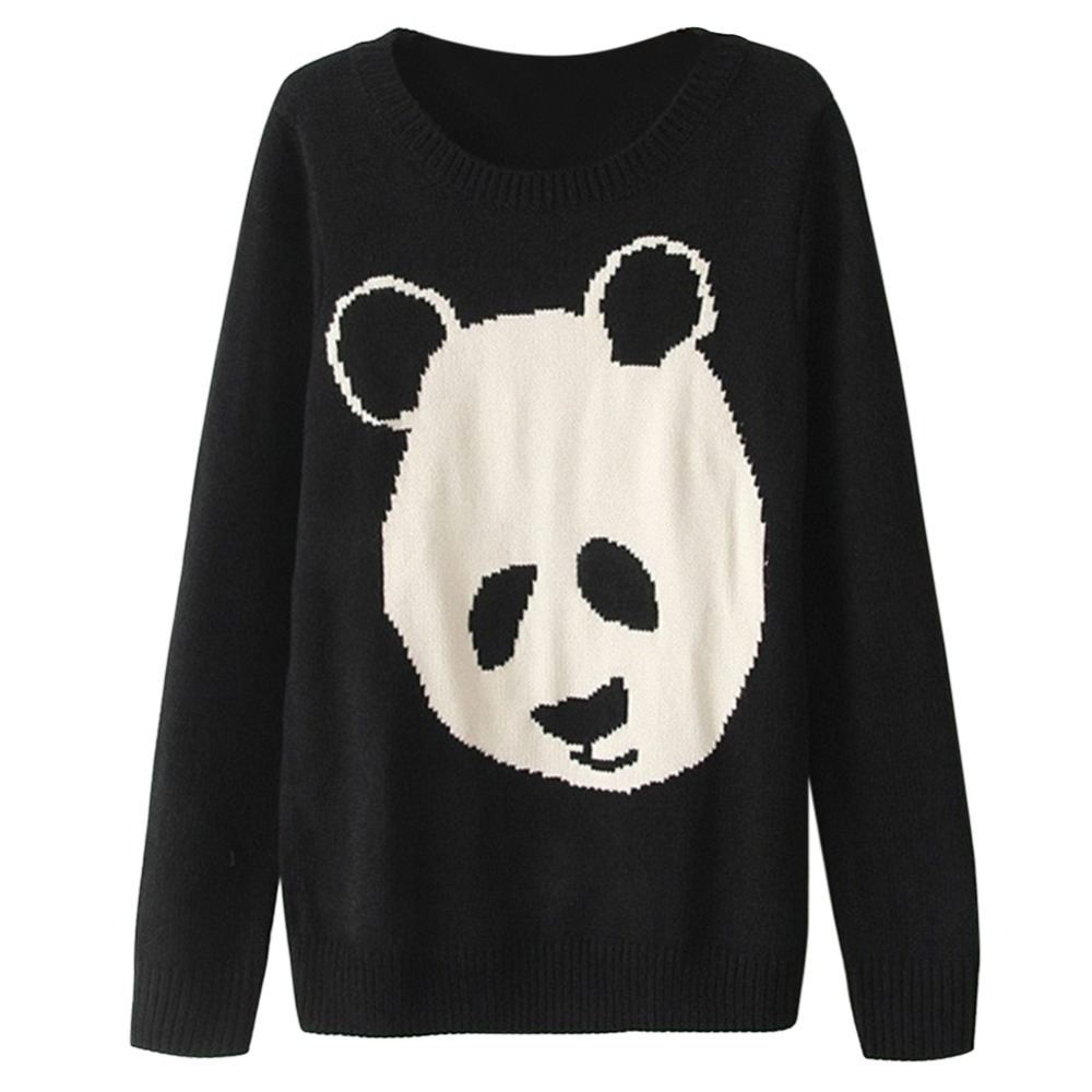2017 Fashion Women Panda Knitted Sweater Long Sleeve O-Neck Autumn Computer Knitting Pullover Sexy Loose Sweaters