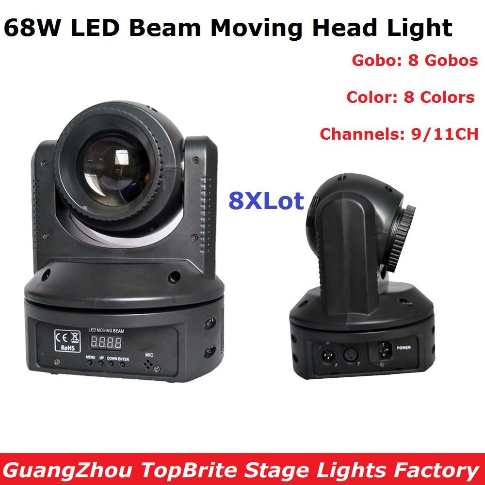 8Pcs/Lot 68W High Bightness Led Moving Head Beam Lights DMX512 DJ Disco Equipments Mini Led Moving Head Stage Light Free Ship