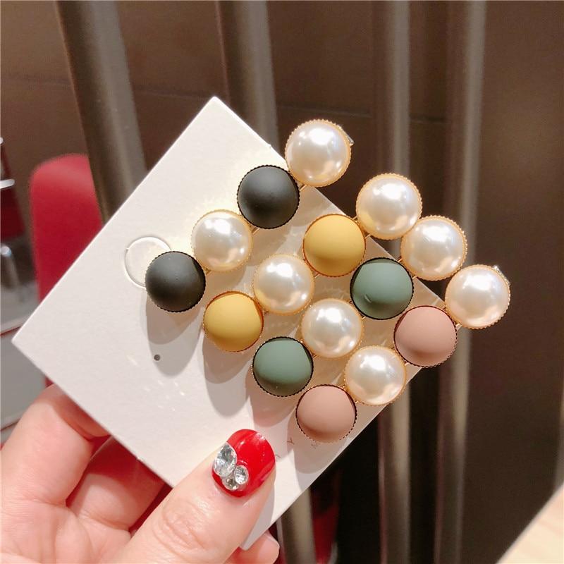 F173 kore moda Metal tokalar Imitiation inci renkli boncuklar saç klipleri saç tasarım aksesuarları firkete kadınlar için