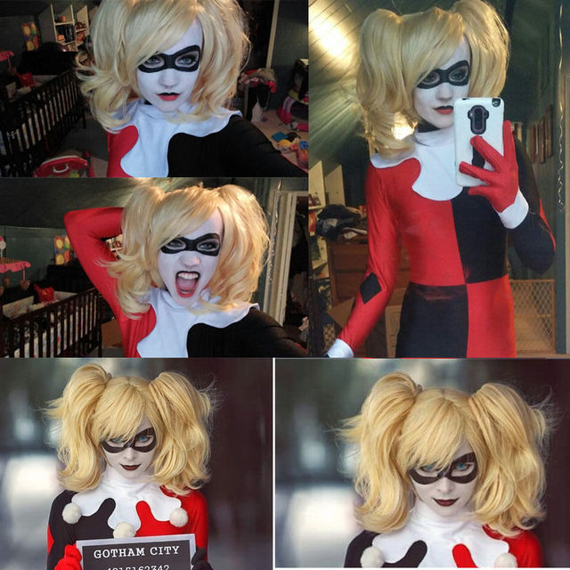 Top Quality ! Fashion Style Batman Harley Quinn Short Curly Golden Blonde Party Cosplay Wig Heat Resistance Cheap Hair Wigs