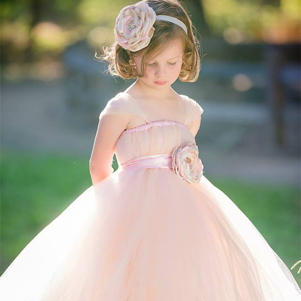 Unique Blush Flower Girl Dress With Floral Sash Tulle Straps Girl