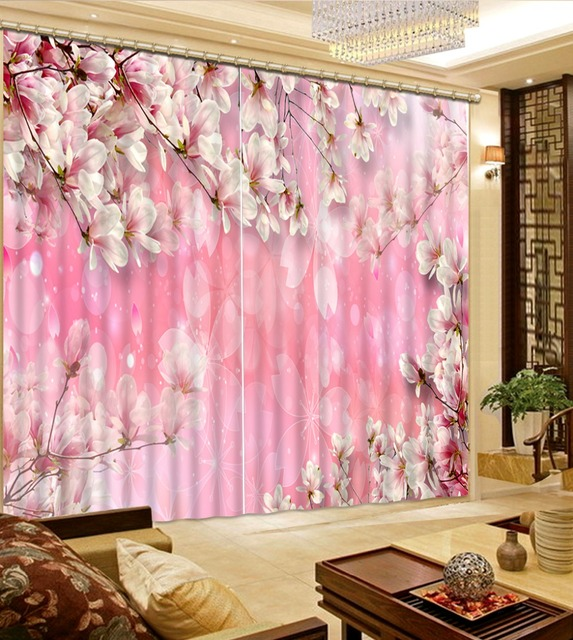 3D Painting Curtains Bedroom Living Room 3D Curtains Custom pink ...