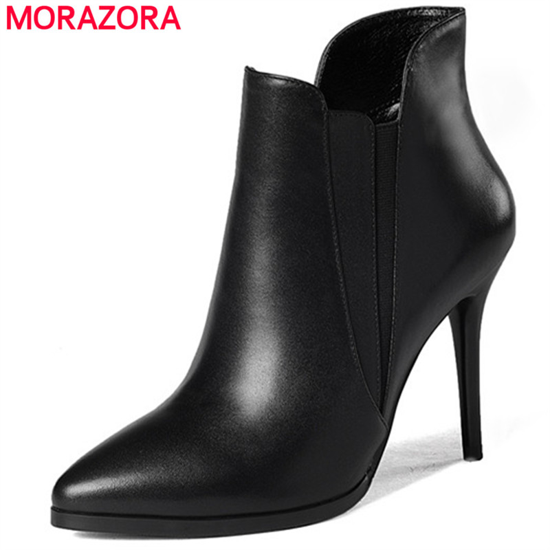 MORAZORA Pointed toe fashion shoes elegant party ankle boots for women genuine leather zipper spring autumn boots female front lace up casual ankle boots autumn vintage brown new booties flat genuine leather suede shoes round toe fall female fashion