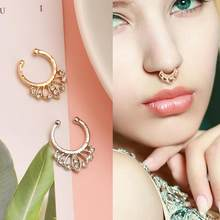 KLEEDER 9 Colors Horseshoe Fake Nose Ring Horseshoe Bar Circular Barbell Lip Nose Septum Ear Ring Piercing Body Jewelry(China)