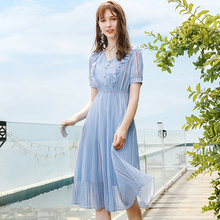 Wasteheart Summer Women Blue Chiffon A-Line Dress V Neck Evening Party Office Striped Lady Sexy Plus Size Sweet Dresses
