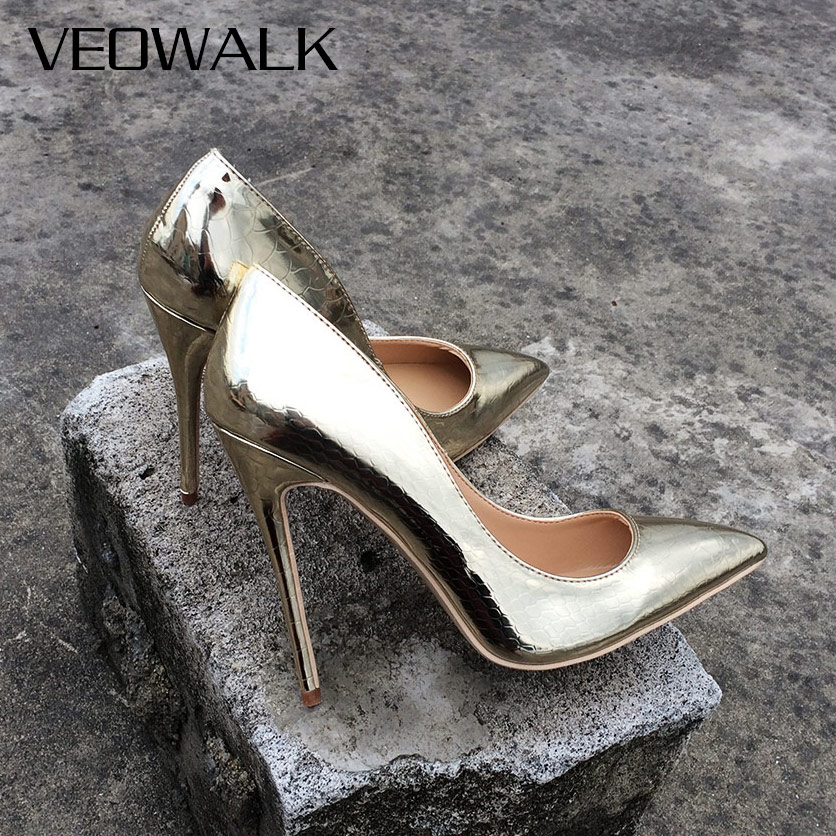 Veowalk Brand Spring Women Sexy Extreme High Heels Stilettos Heeled Shoes Ladies Pointed Toe Wedding Bridal Pumps Gold ColorVeowalk Brand Spring Women Sexy Extreme High Heels Stilettos Heeled Shoes Ladies Pointed Toe Wedding Bridal Pumps Gold Color