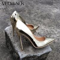 Veowalk Brand Spring Women Sexy Extreme High Heels Stilettos Heeled Shoes Luxury Ladies Pointed Toe Wedding Bridal Pumps Gold