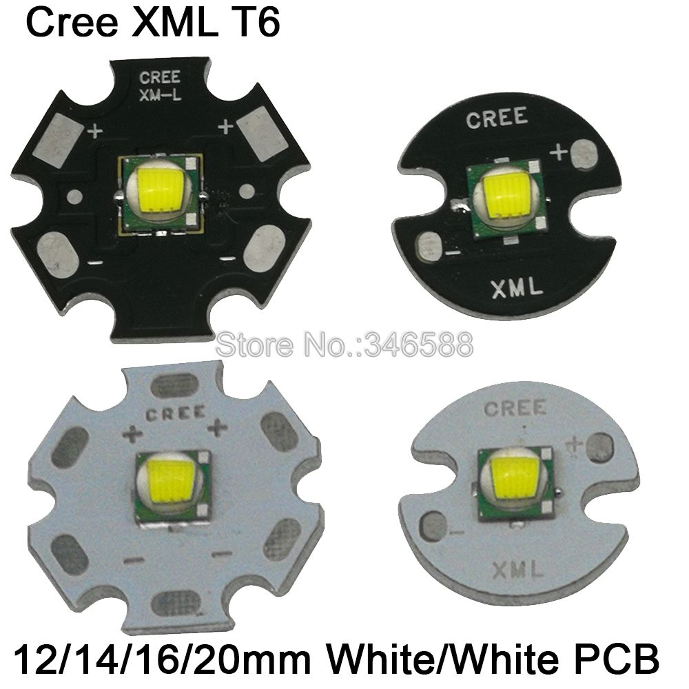 1PC CREE XML XM-L T6 LED U2 10W White High Power LED Emitter Diode with 12mm 14mm 16mm 20mm Black or White PCB for Flashlight светодиод cree xlamp xml xml t6 10w 20 platine xm l t6