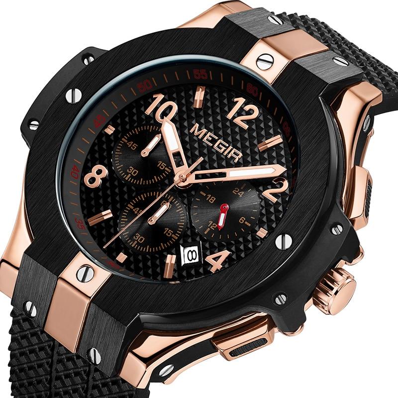 MEGIR Marca Homens Relógio De Quartzo Relógio de Ouro Banda De Borracha 3ATM Chronograph Mens Relógio de Pulso de Quartzo Resistente À Água