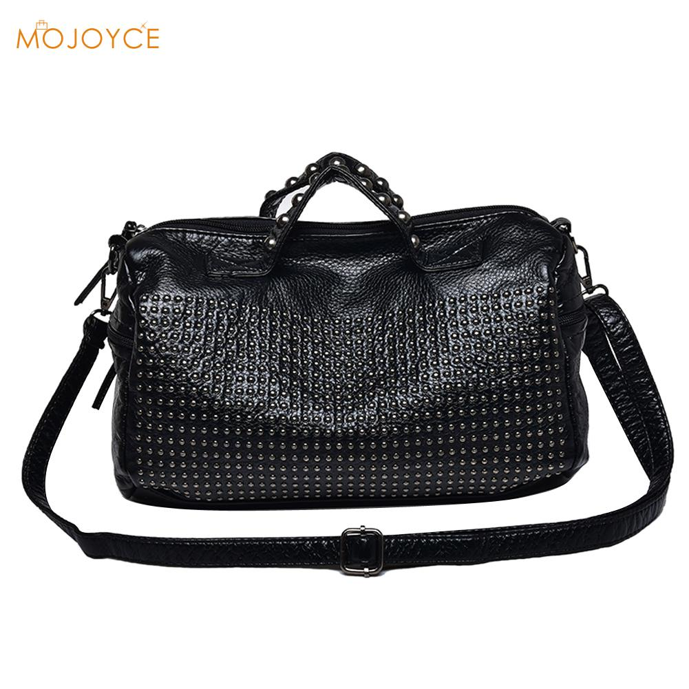 Classic Washed PU Rivet Bag Women Leather Handbags Vintage Shoulder Bag Big Totes Motorcycle Women Messenger Bags Sac A Main fashionable big lip shaped pu rivet shoulder bag messenger bag for women black golden