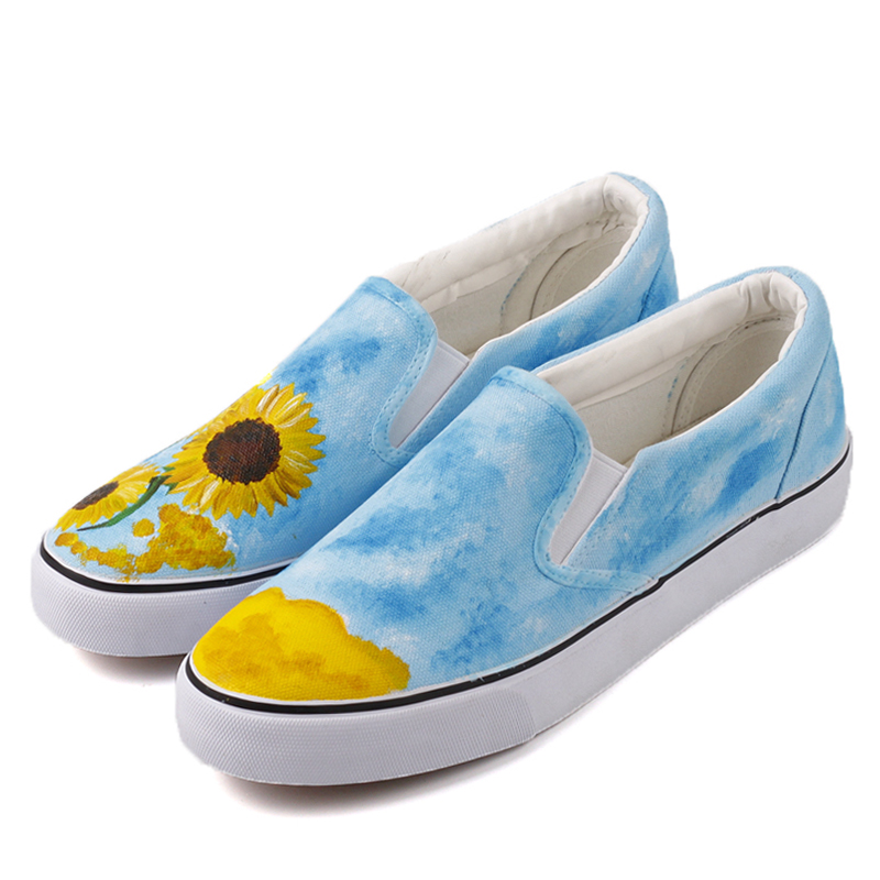 8b2d02d66a7 E-LOV Fashion Women Casual Loafers Oil Painting Sunflower Slip On Shoes  Hand Painted Canvas