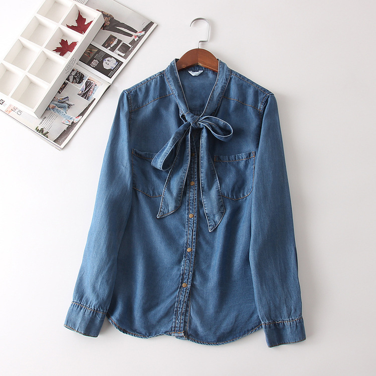 S23979  mori girl 2018 autumn brief sash bow collar long sleeve soft denim shirt blouse