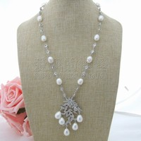 N032605 22 White Rice Pearl Necklace Sea Shell CZ Pendant