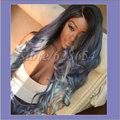 Long Dark Blue Wig Three Tone Natural Black Ombre Blue To Blonde Tips Synthetic Lace Front Wig Glueless Heat Resistant Women Wig