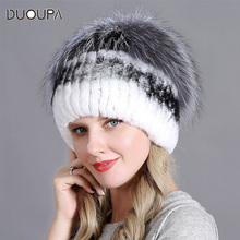 2018 New Woven Rex Rabbit Hair Hat Korean Edition Warm and Thicker Silver Fox