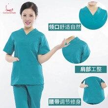 Surgical clothes womens hand-washing short sleeve thin split suit nurses doctor men brush hand lake blue